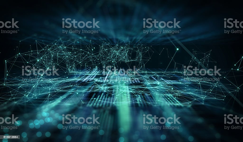 Dark background with connecting code, dots and lines stock photo