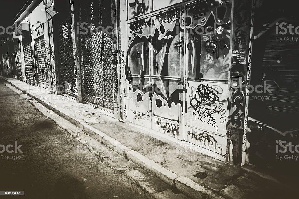 Dark backstreets. stock photo