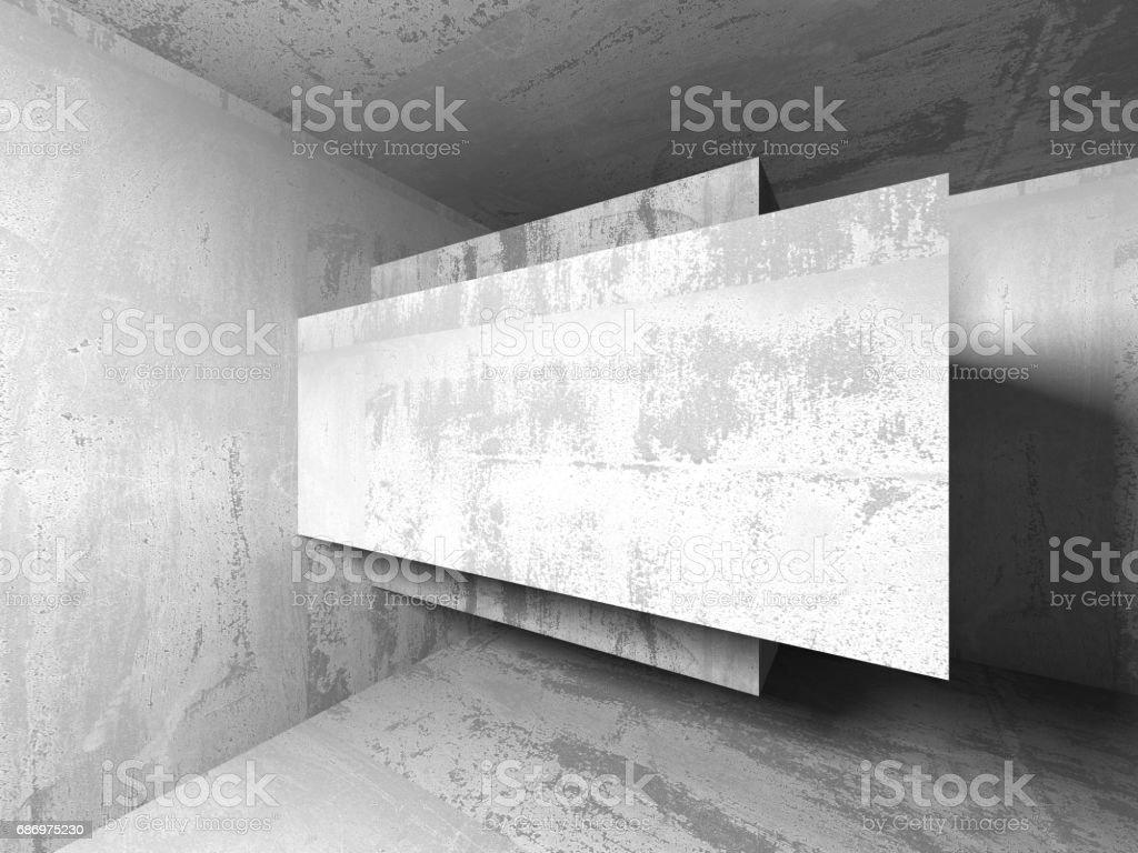 Dark basement empty room interior. Concrete walls. Architecture...