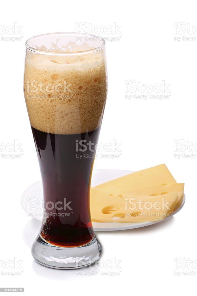 Dark beer with cheese royalty-free stock photo