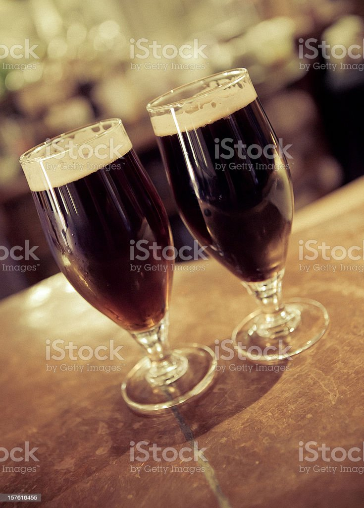 Dark beers at the pub stock photo