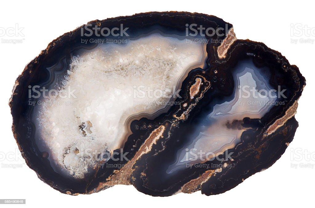 dark blue agate isolated on white stock photo