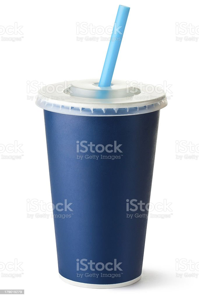 Dark blue cardboard cup with a straw stock photo