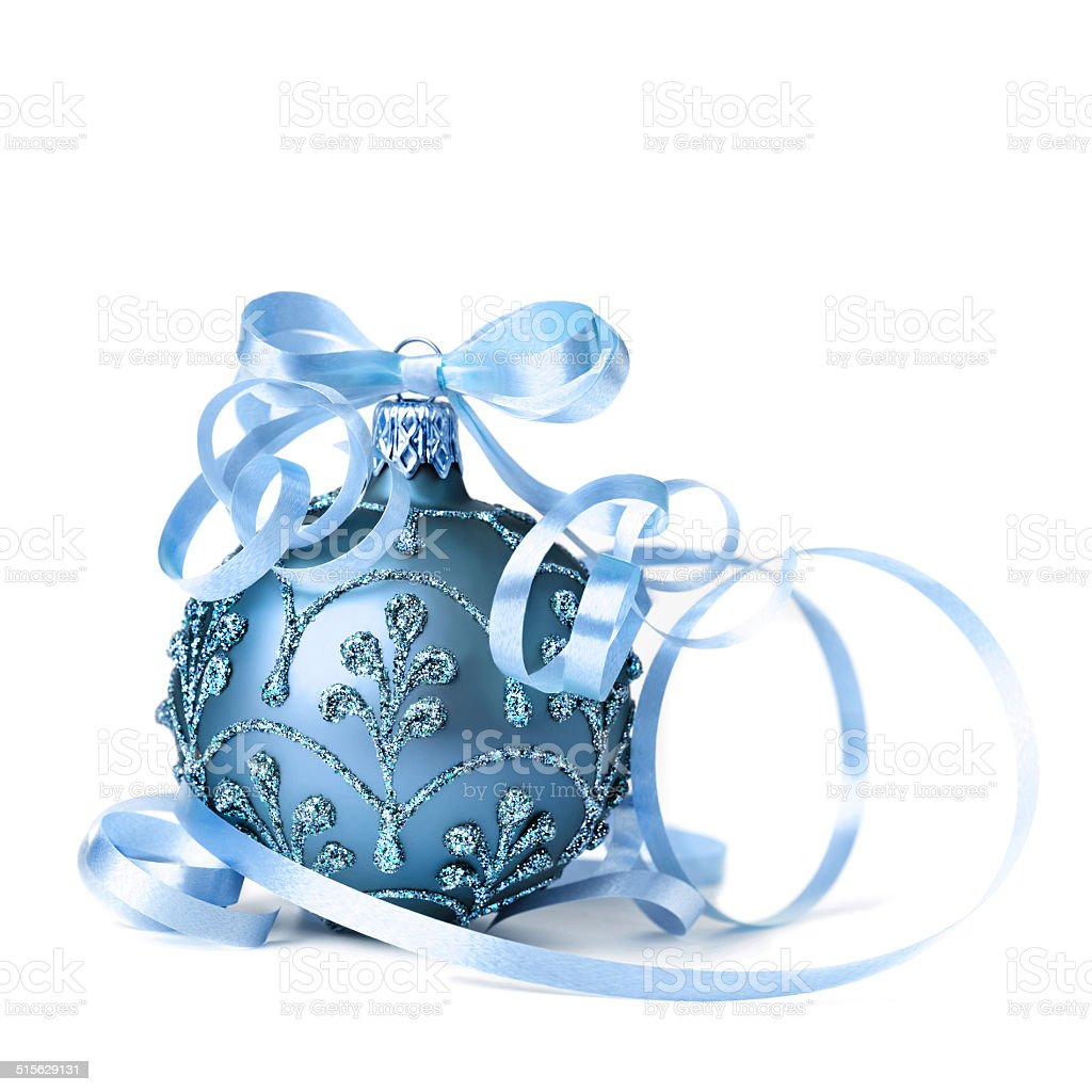 Dark blue Christmas bauble on white background stock photo