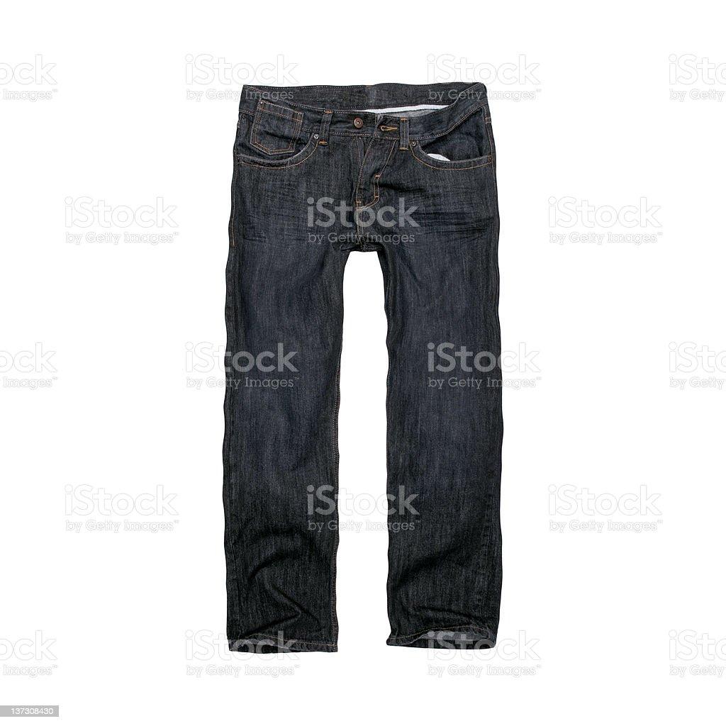 Dark Blue, Designer Jeans for Men - White Background stock photo