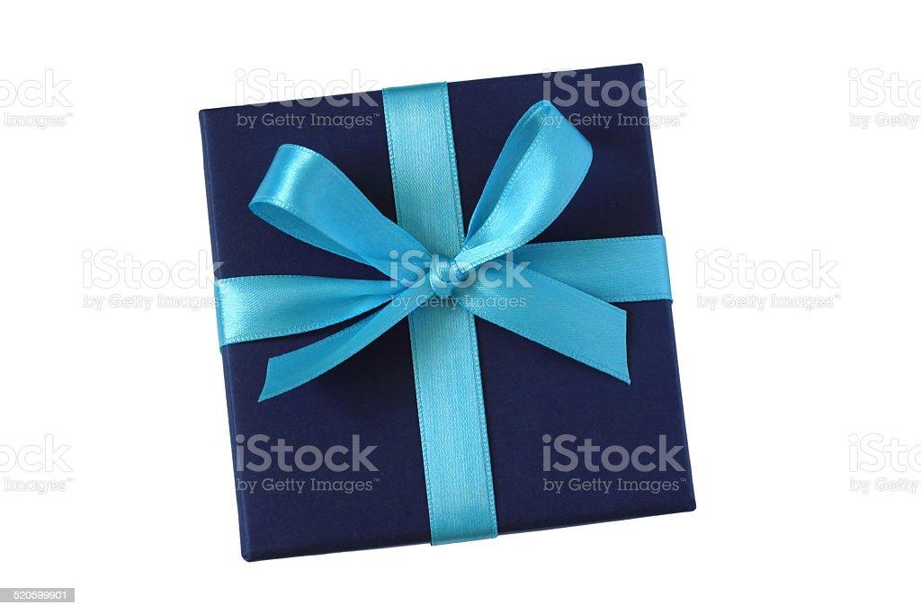 Dark blue gift box with ribbon bow stock photo