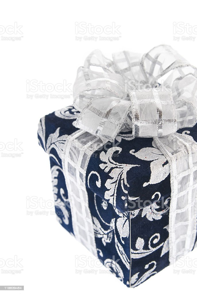 Dark blue gift box with silvery ribbon stock photo