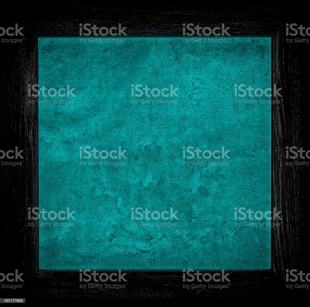 dark blue grunge canvas with wood frame stock photo