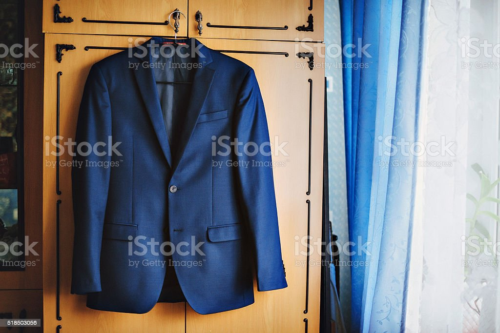 Dark blue in a small checkered formal men suit jacket stock photo