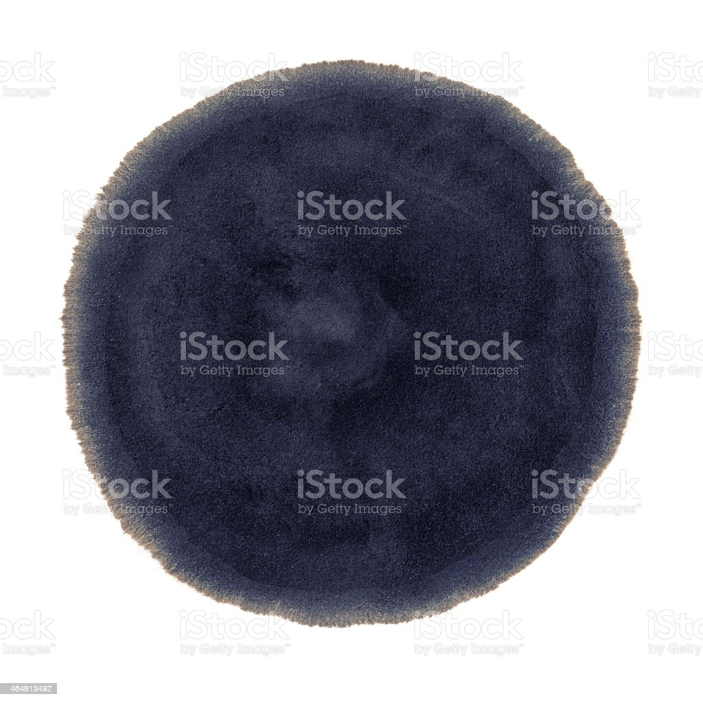 Dark blue ink spot on a white background stock photo