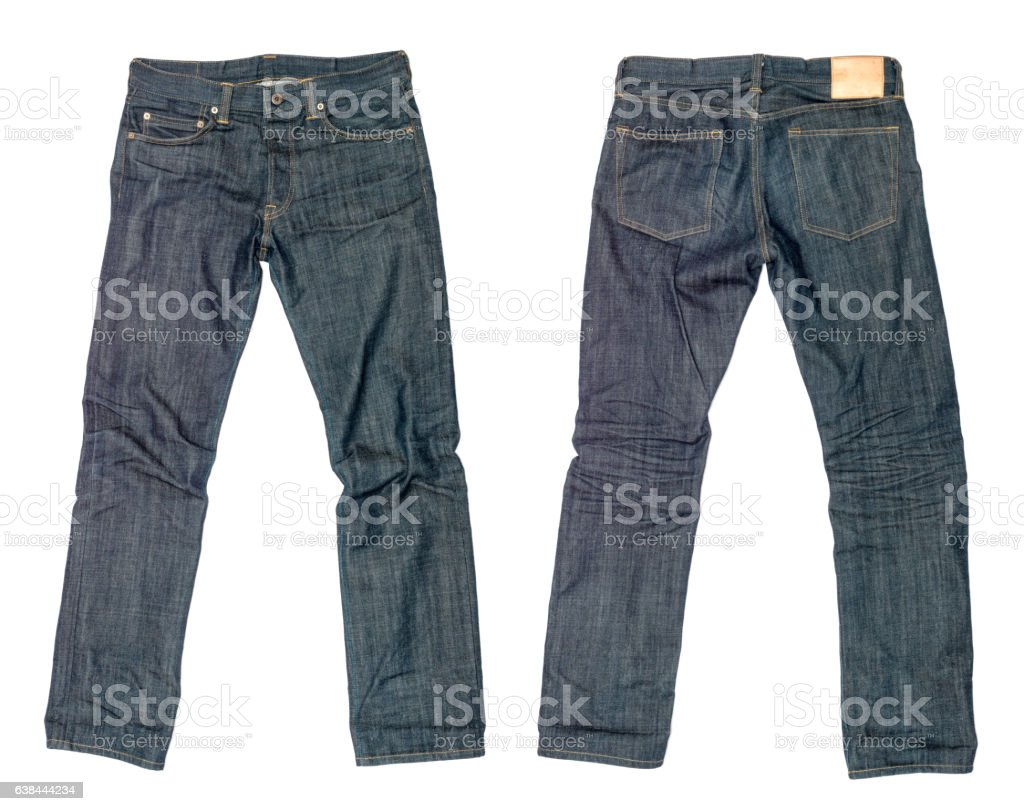 dark blue jeans on a white background stock photo