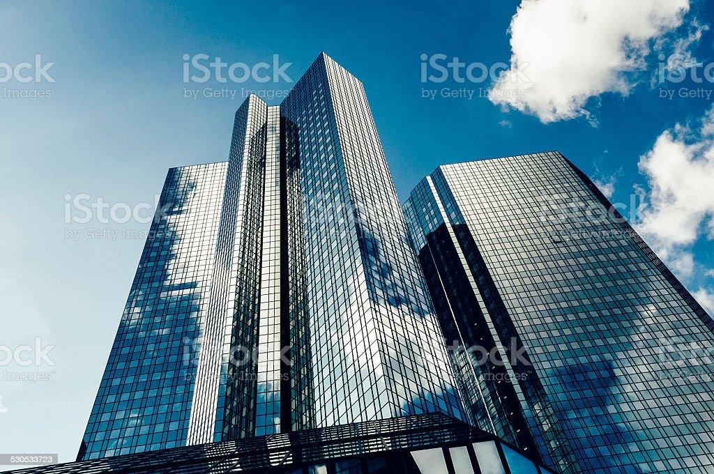 Dark blue office building - Deutsche Bank stock photo