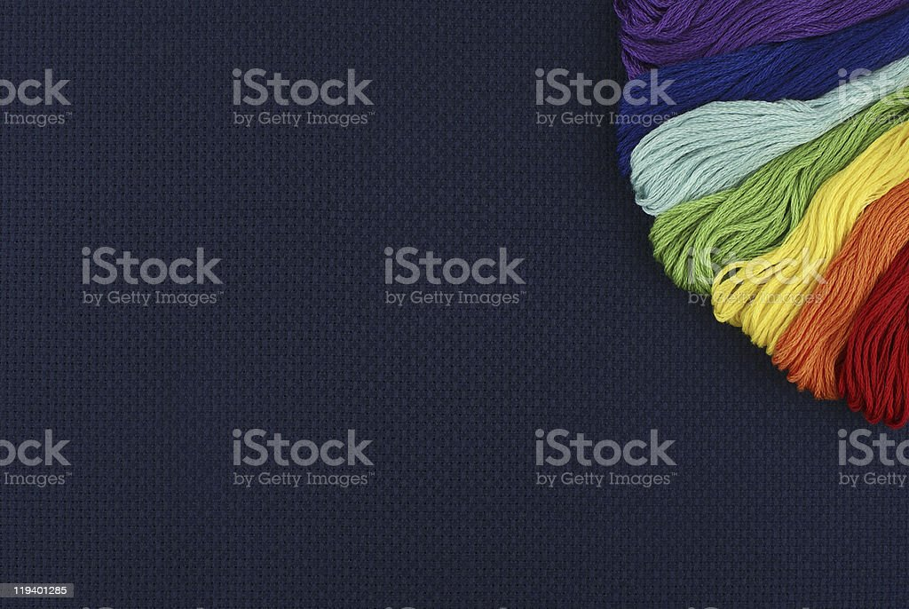 Dark blue outline with threads stock photo
