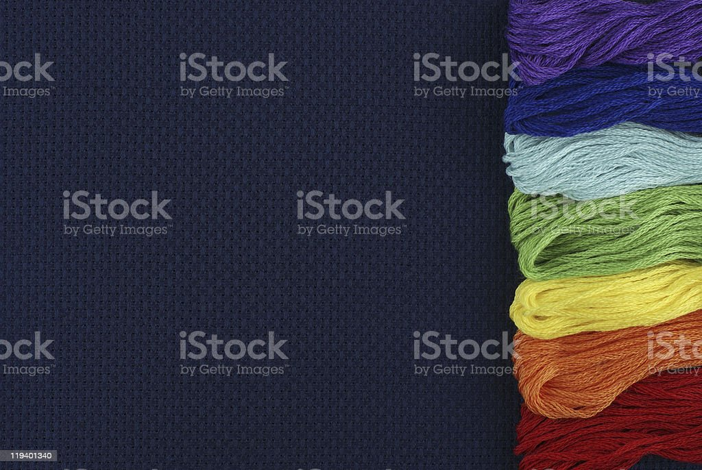 Dark blue outline with threads royalty-free stock photo