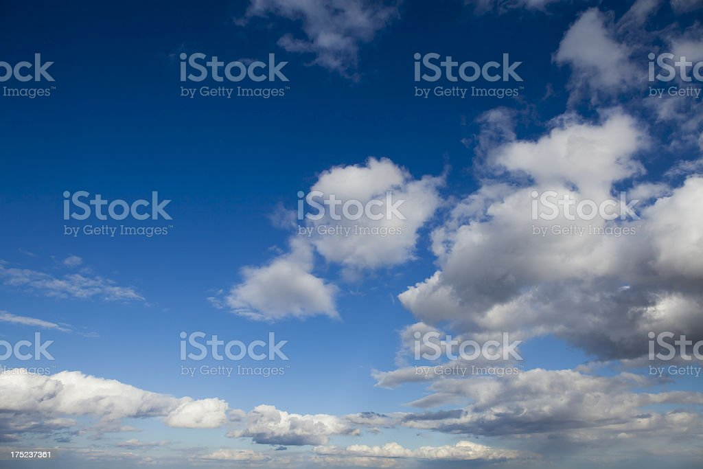 Dark blue sky and white clouds royalty-free stock photo