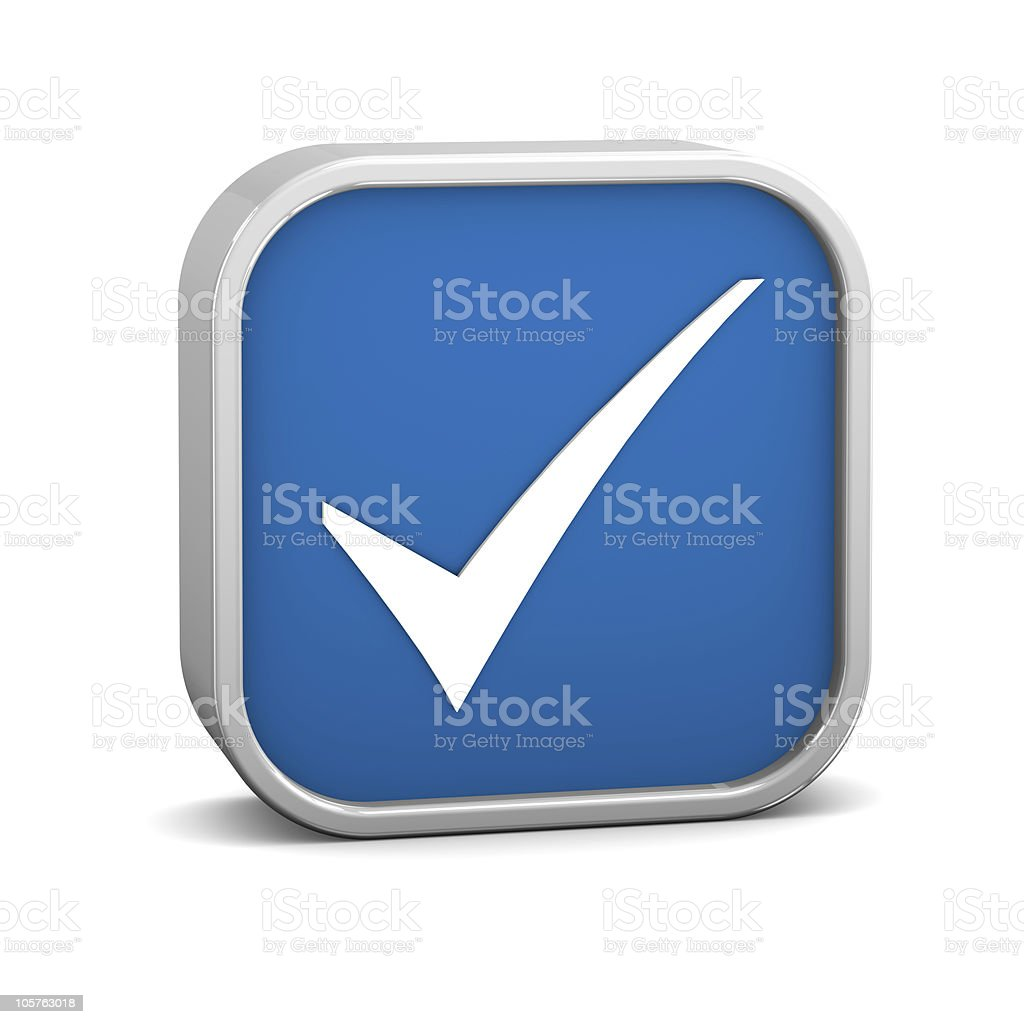 Dark Blue Tick Sign royalty-free stock photo