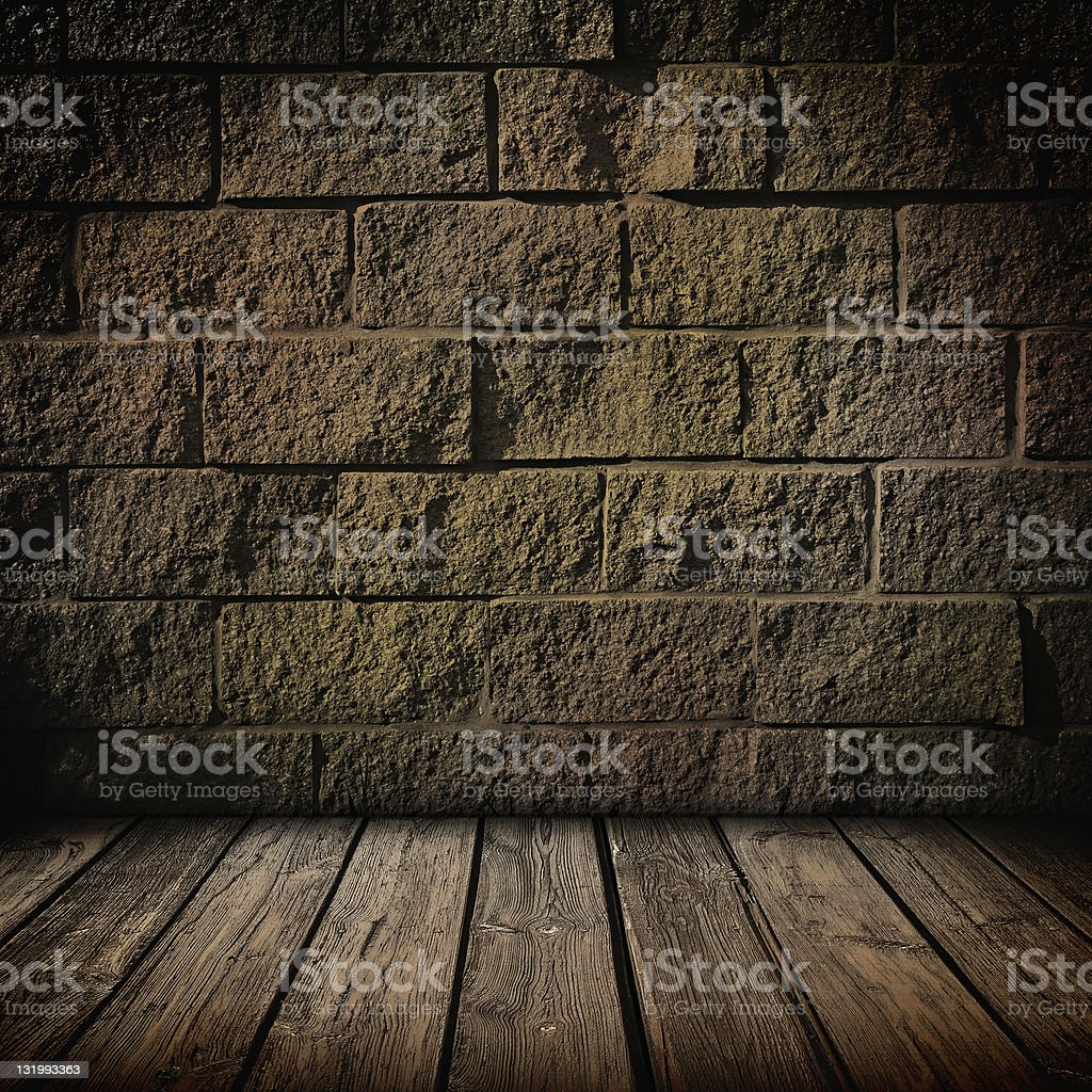 Dark brick and wood interior royalty-free stock photo