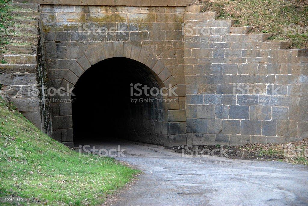 Dark Brick Tunnel stock photo