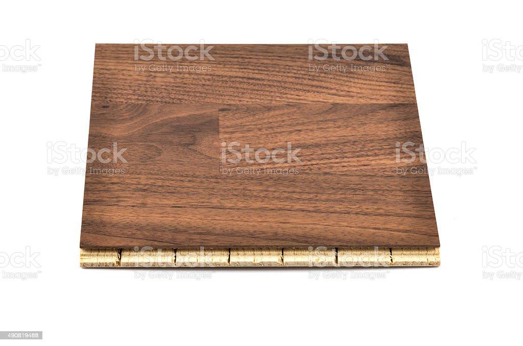 Dark Brown Hardwood Tile on white Background Tilt Viewpoint stock photo