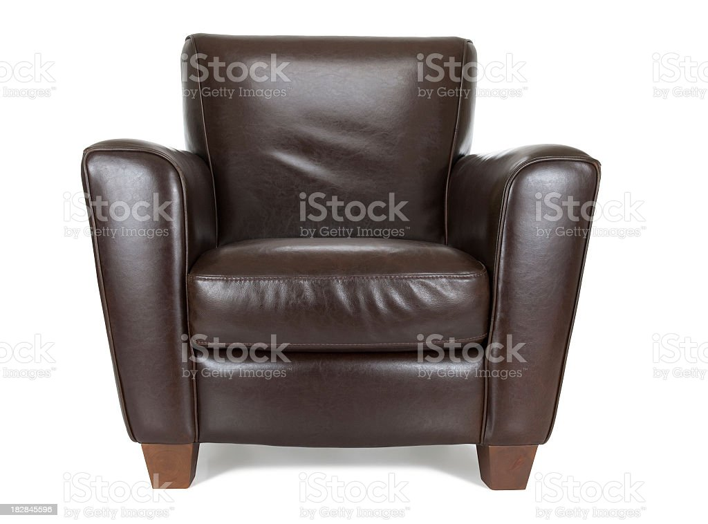 Dark brown leather chair against white background stock photo