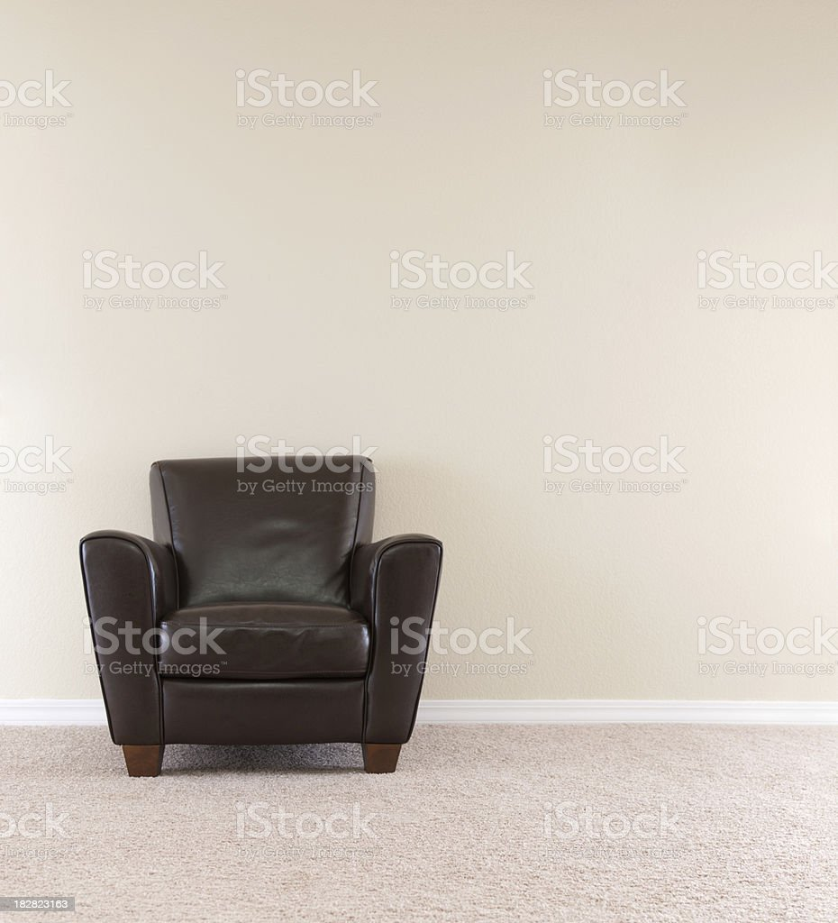 Dark Brown Leather Chair stock photo