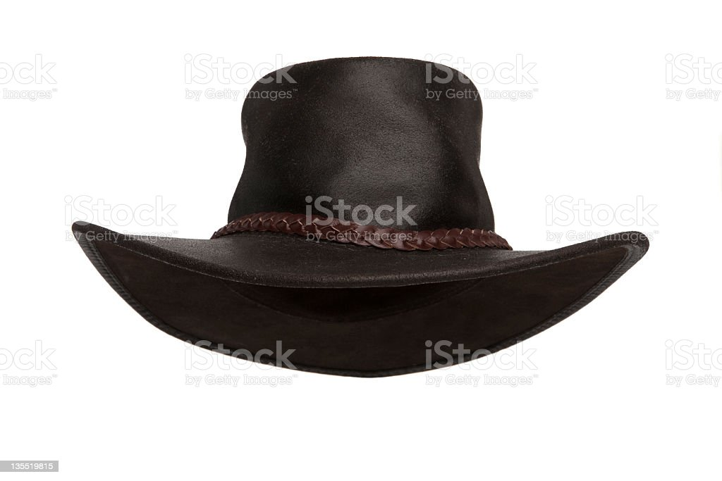 Dark brown leather hat on white background stock photo