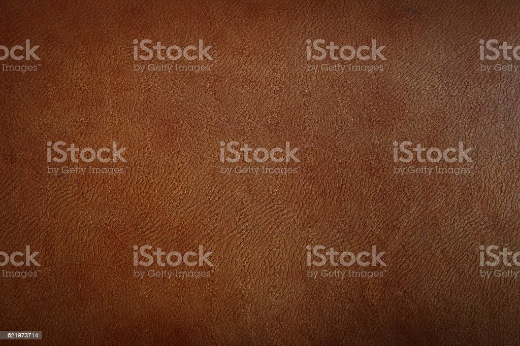 Dark brown leather texture closeup stock photo