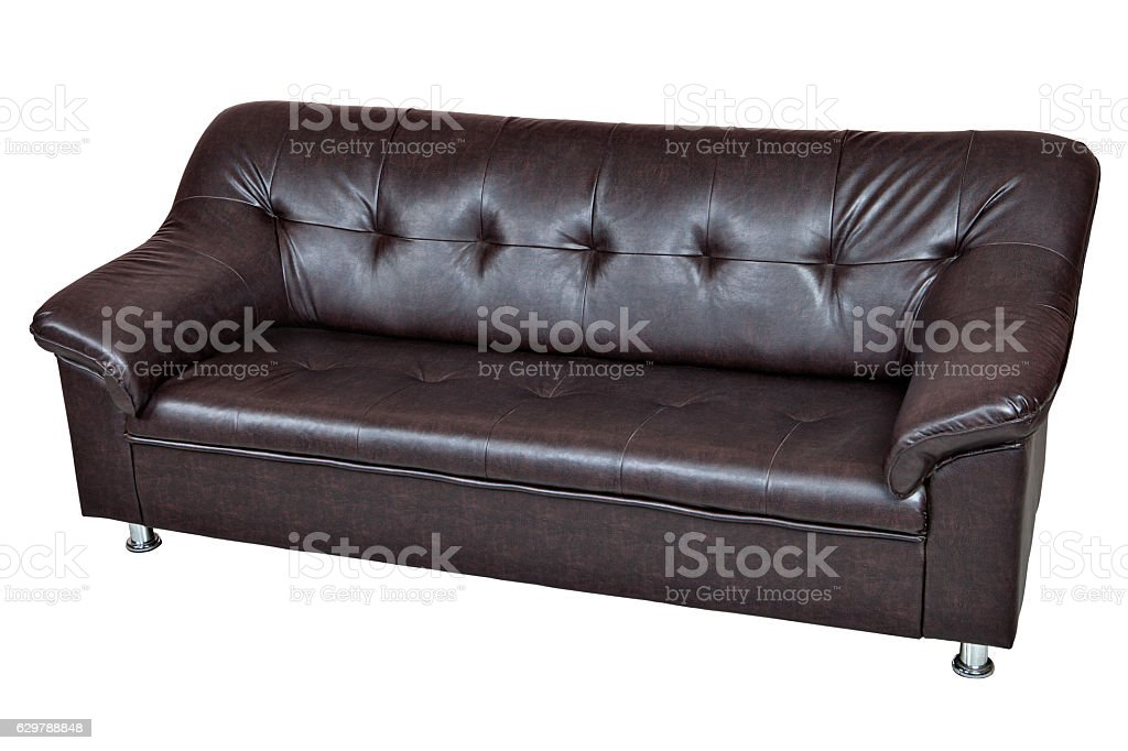 Dark brown sofa imitation leather isolated on white background. stock photo