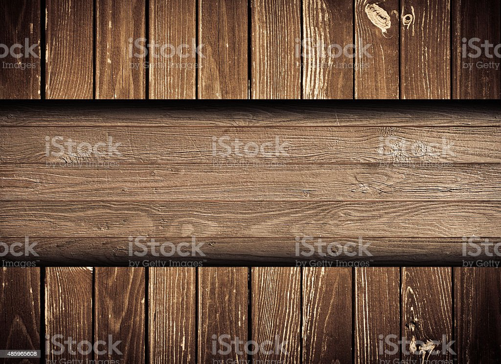 Dark browny scratched wooden wall, fence, floor surface. Copy space stock photo