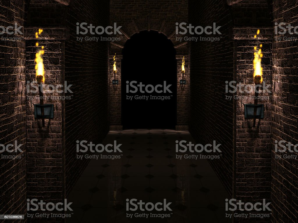 Dark castle corridor stock photo