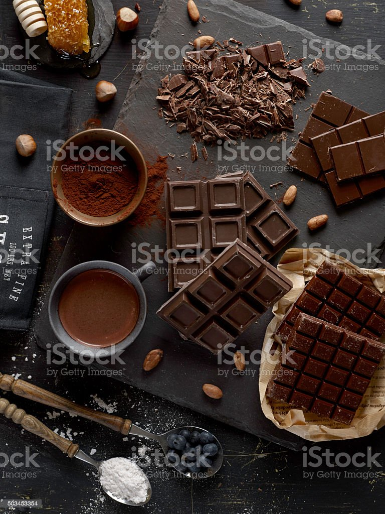 Dark chocolate bars stock photo