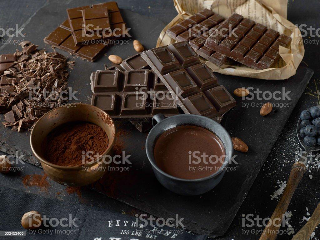 Dark chocolate bars stock photo
