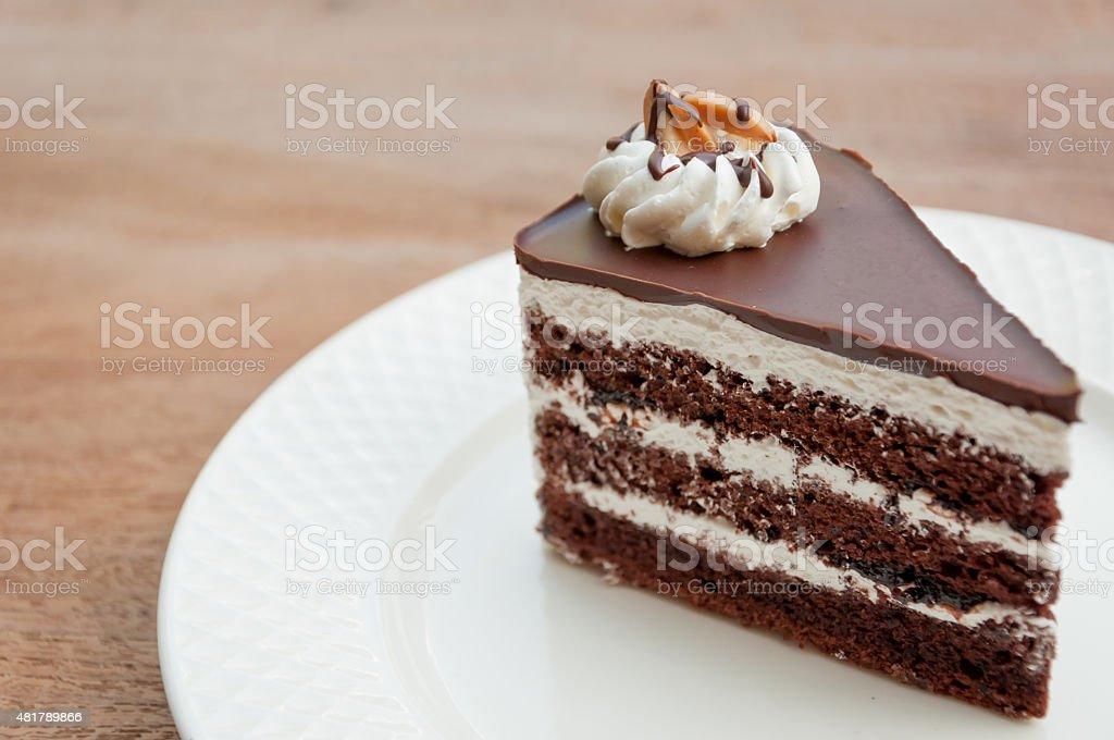 Dark chocolate cake stock photo