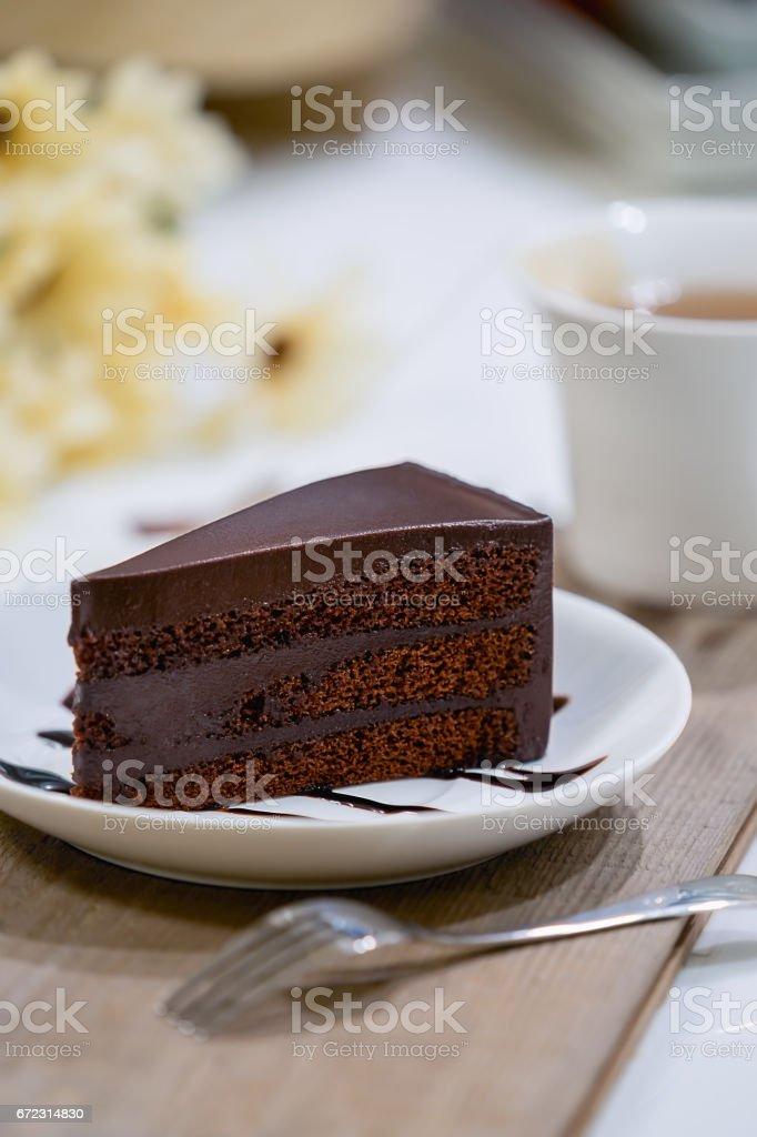 Dark chocolate cake. stock photo