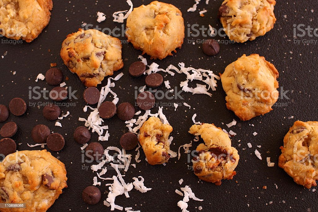 Dark Chocolate Chip and Coconut Cookies stock photo