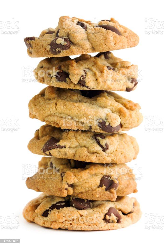 Dark Chocolate Chip Cookies, Fresh, Homemade Stack Isolated on White royalty-free stock photo