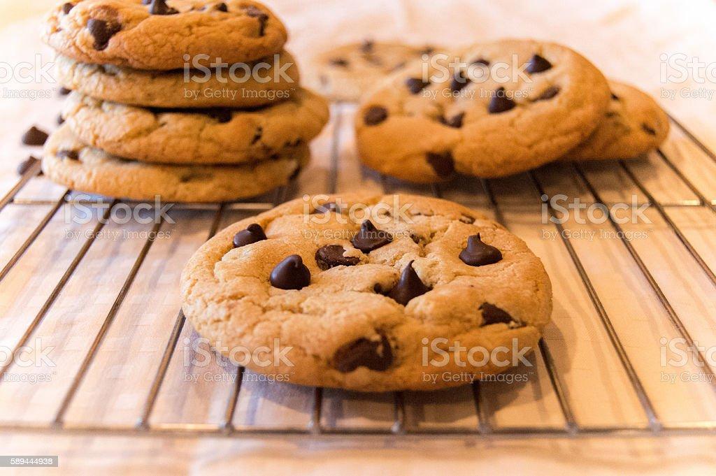 Dark Chocolate Chip Cookies stock photo