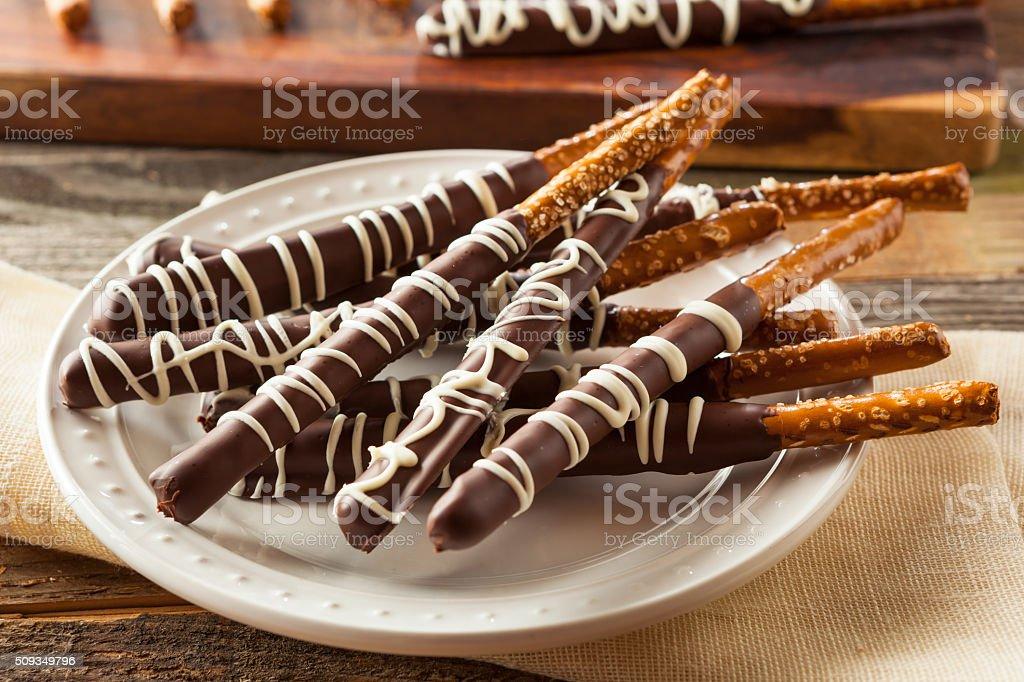 Dark Chocolate Covered Pretzels stock photo