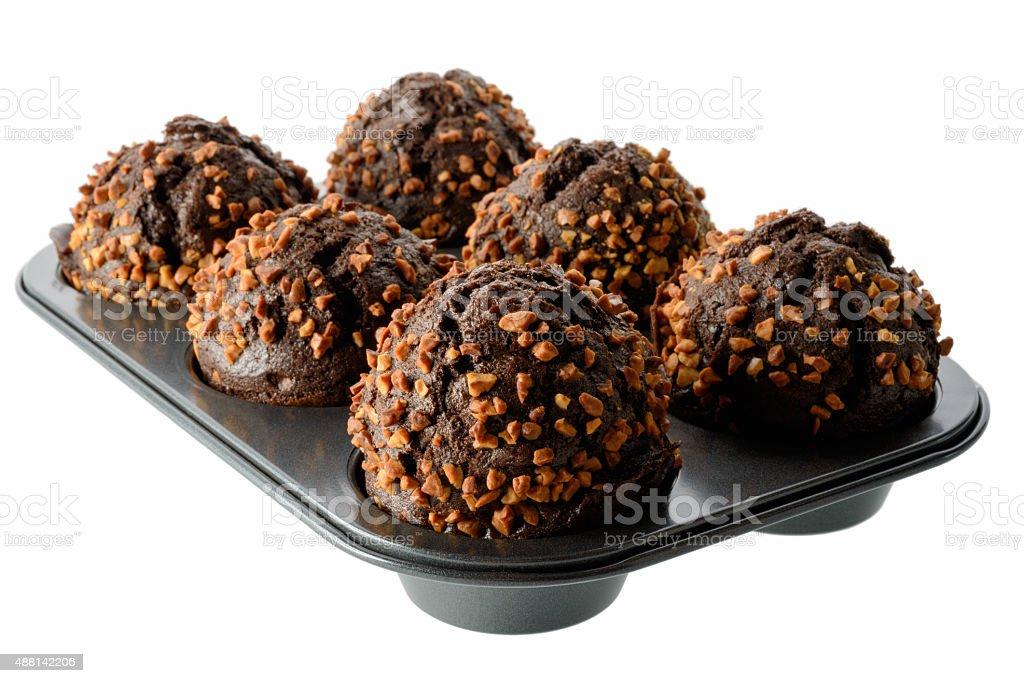 Dark chocolate muffins stock photo
