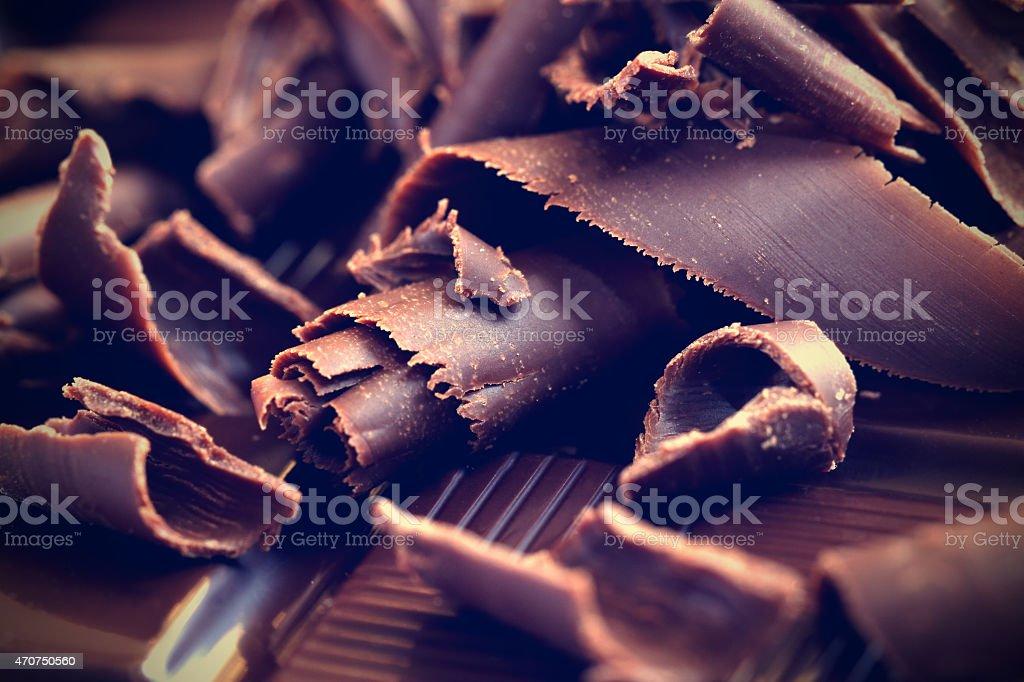 Dark chocolate shavings stock photo