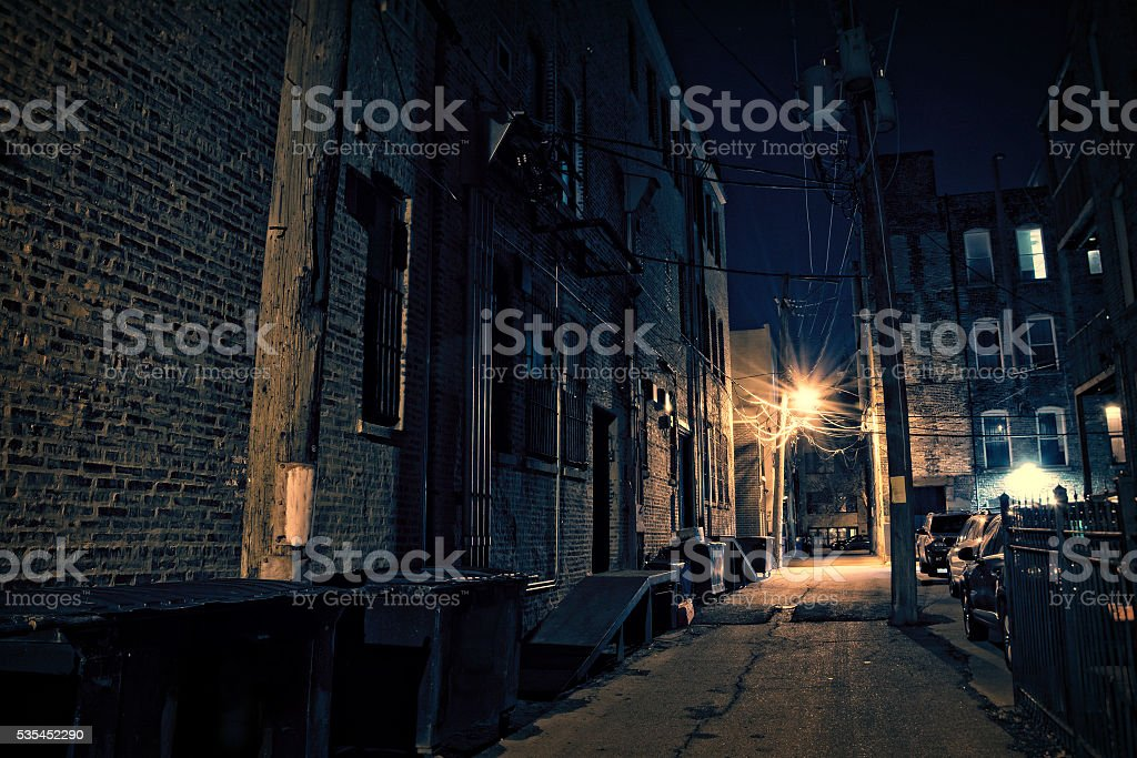 Dark City Alley stock photo