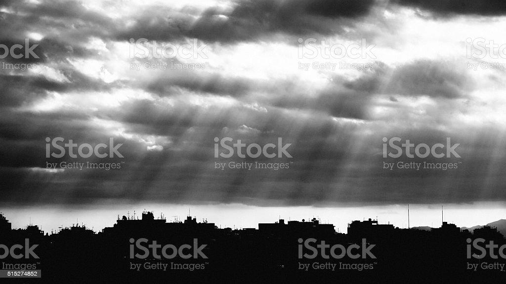 Dark city. Nicosia, Cyprus. stock photo