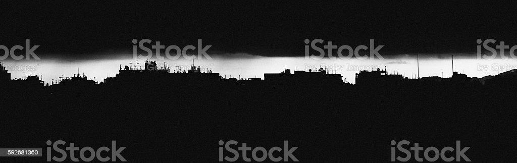 Dark city skyline. stock photo
