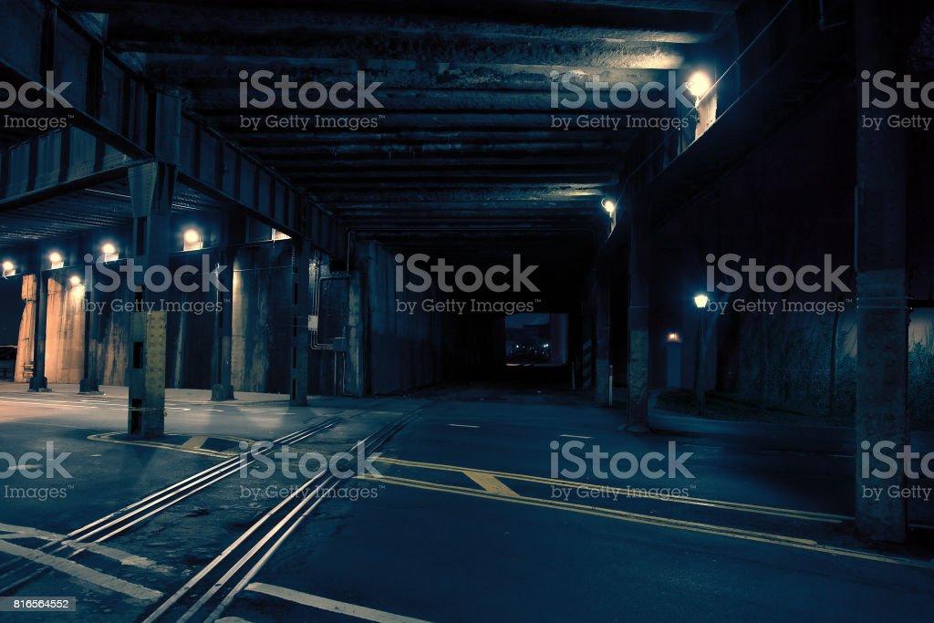 Dark City Train Tunnel at Night stock photo