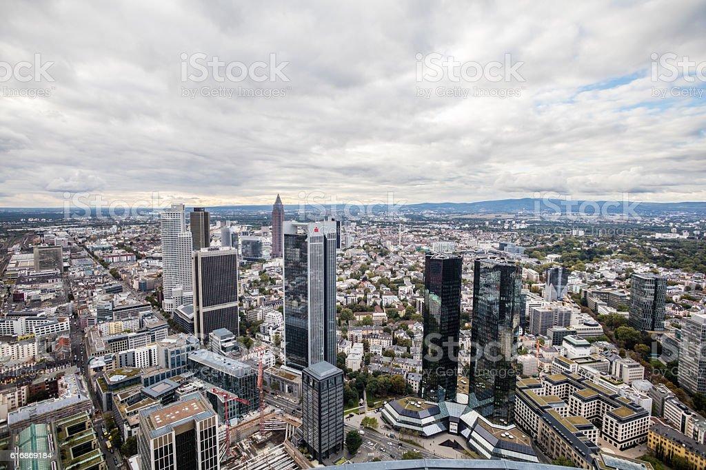 Dark clouds above Frankfurt stock photo