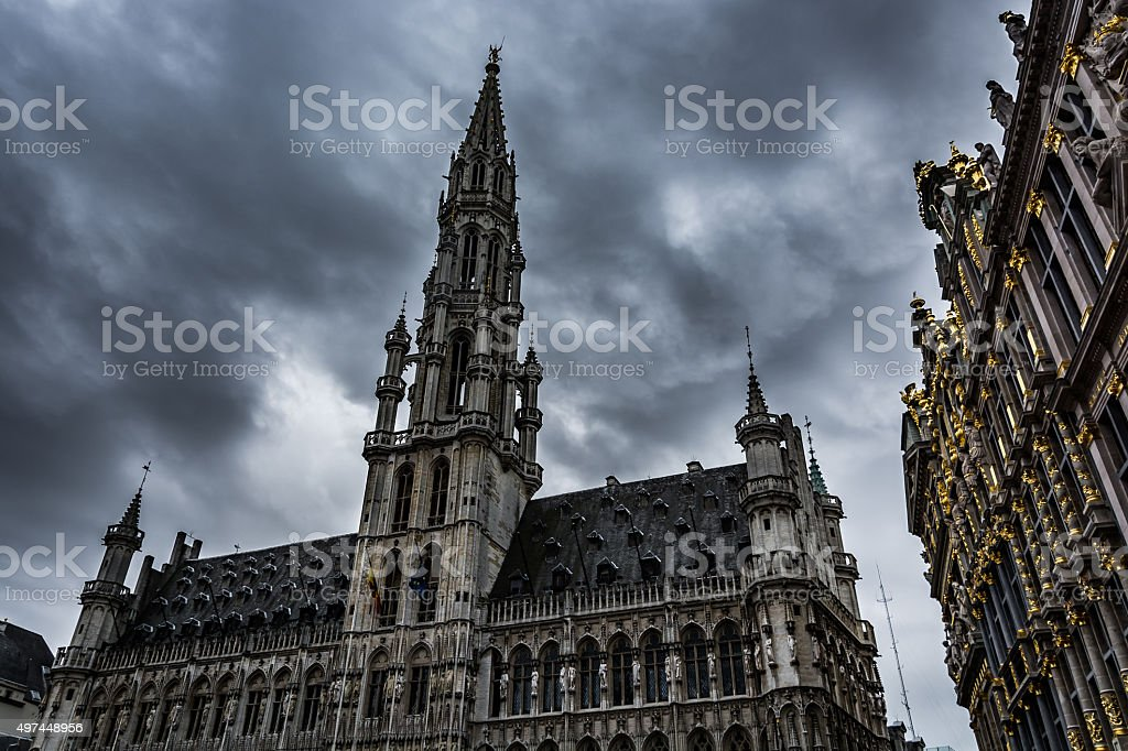 Dark clouds over Brussels stock photo