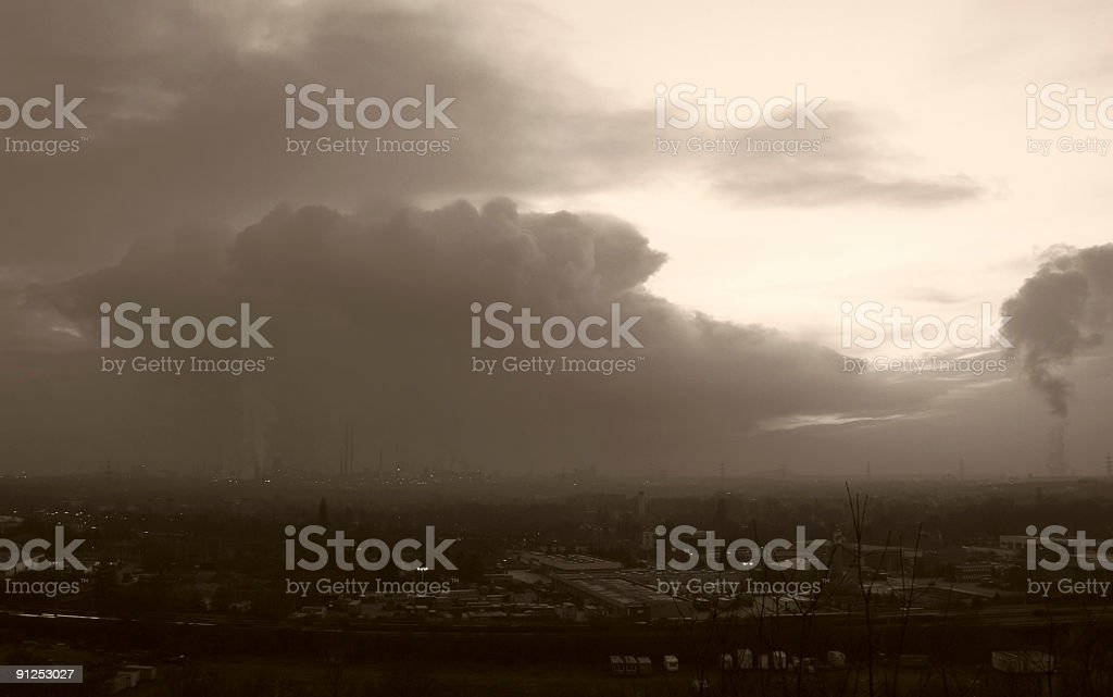 Dark Clouds Over Industry royalty-free stock photo