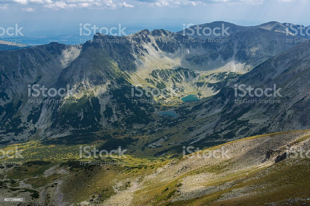 Dark clouds over Marichini Lakes, Landscape from Musala Peak, Rila stock photo