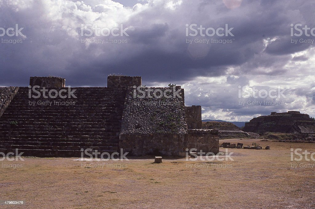 Dark clouds over Mayan Ruins of Monte Alban Oaxaca Mexico stock photo