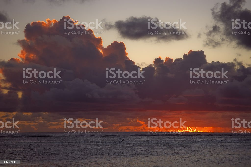 Dark Clouds over Sea at Dusk royalty-free stock photo